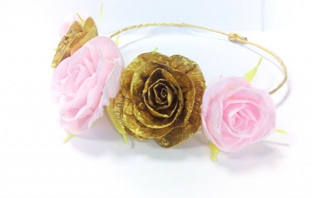 d80a88f98 Gold Pink Bride Crown Flower Girl Wreath Festival Floral Crown Halo Gold Pink  Hair Wreath Bridesmaid Pink Gold Baby Shower First Birthday #2438451 - ...