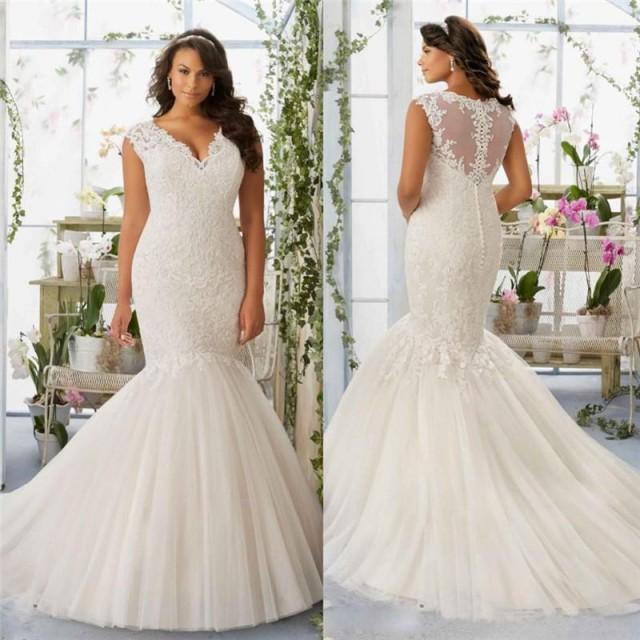 V-Neck Mermaid Backless Lace Wedding Dress - Tbdress.com