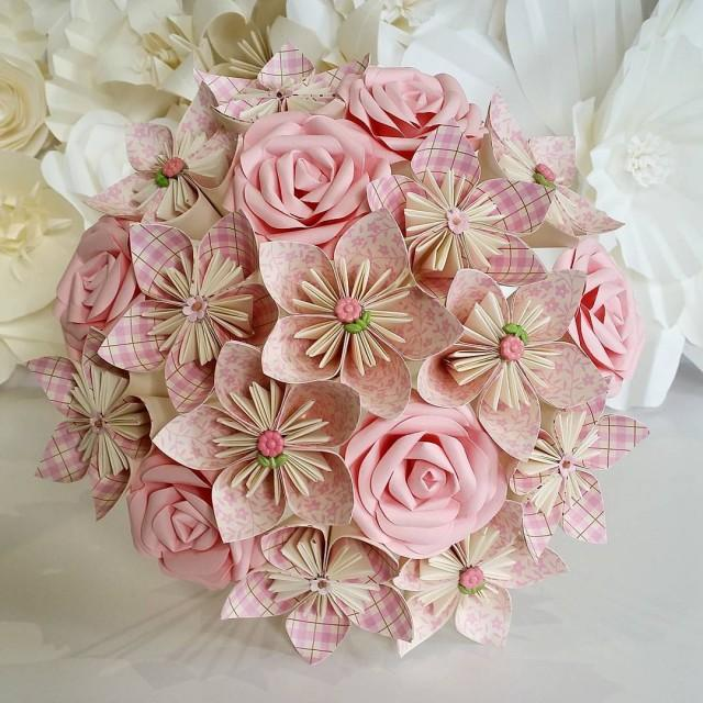 Paper flowers bouquet origami bridal stationary uk rustic for Romantic origami ideas