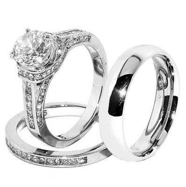His hers set stainless steel wedding ring set cz ring for Do pawn shops buy stainless steel jewelry