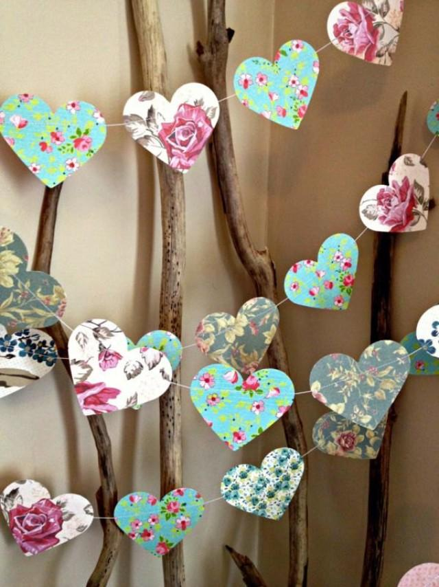 10 Ft Paper Heart Garland Vintage Shabby Chic Roses Wedding - Decoracion-shabby-chic-vintage
