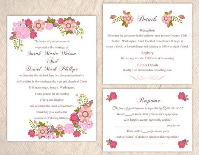 Printable wedding invitation suite printable invitation floral printable wedding invitation suite printable invitation floral wedding invitation pink invitation download invitation edited jpeg file 2438785 weddbook stopboris Image collections