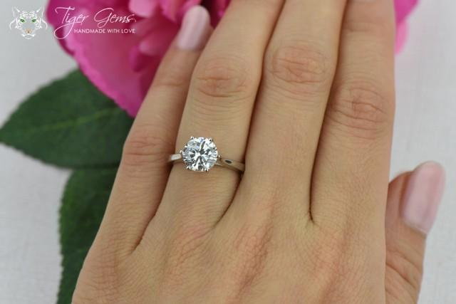 2 Ct Classic Solitaire Engagement Ring Low Profile Ring