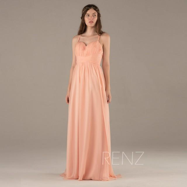 2017 Blush Bridesmaid Dress Long Peach Wedding Criss Cross Spaghetti Straps Party Sweetheart Maxi Floor Length F129 2439019