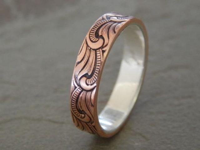 Paisley Silver Amp Copper 5mm Men S Wedding Ring Women