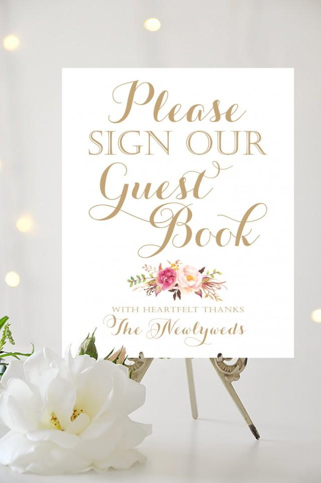 Wedding Sign - Please Sign Our Guestbook - 8 X 10 - DIY ...