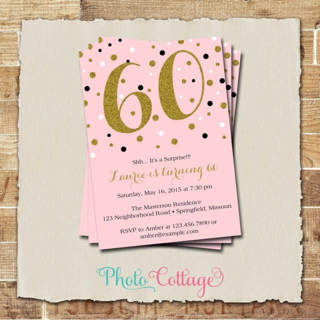 60th Birthday Invitation Gold Glitter Adult Invitations Party Pink BP102 2439485