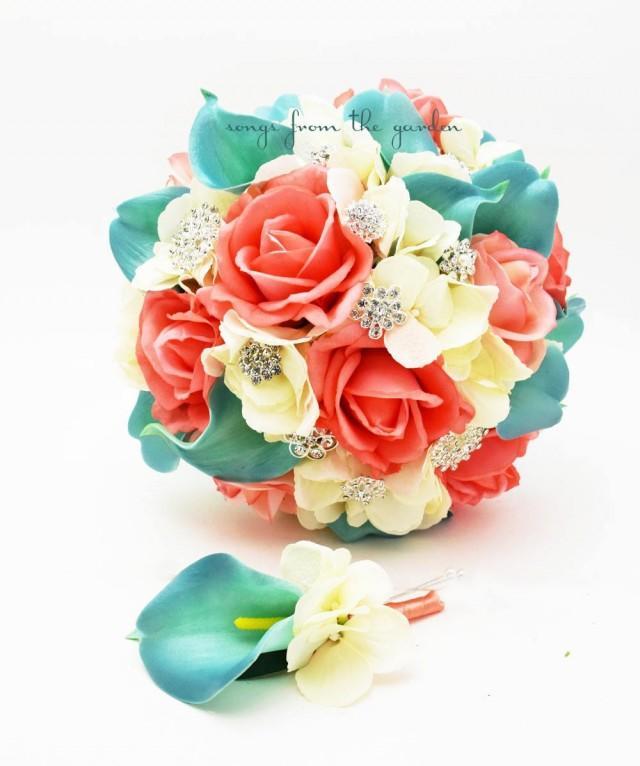 Coral Ivory Aqua Bridal Bouquet Rhinestone Brooches Wedding