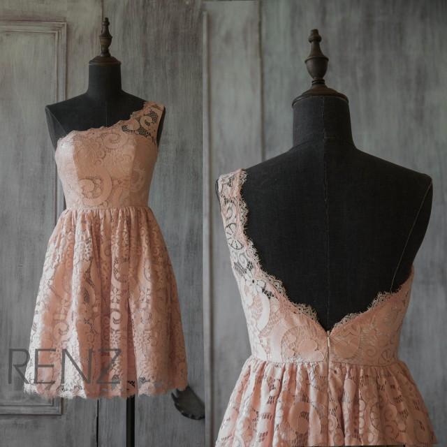 2015 blush lace bridesmaid dress peach wedding dress for Short blush pink wedding dresses