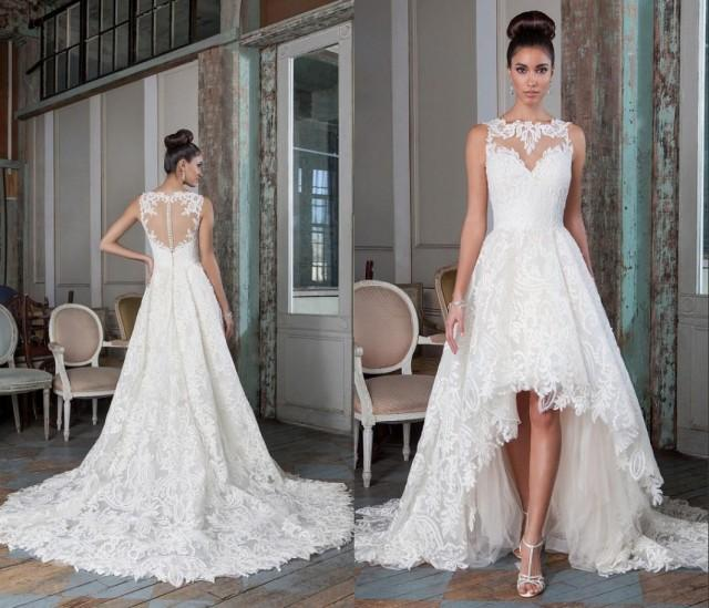 Charming High Low Wedding Dresses Sheer Bateau 2016 Justin