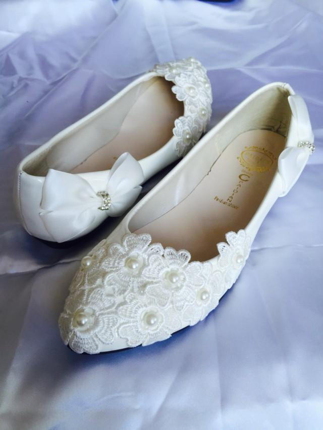 White Wedding FlatsBridal Ballet ShoesComfortable FlatsShoes Flat Lace Shoes Womens Wedding