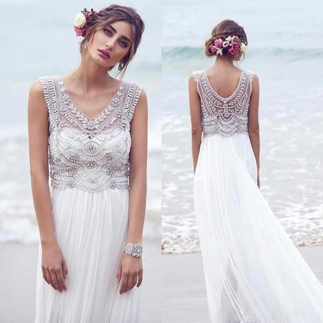 Shop Online Beach Wedding Dresses Cheap Wedding Dresses: 2016 New Arrival Lace Wedding Dresses Crystals Beads