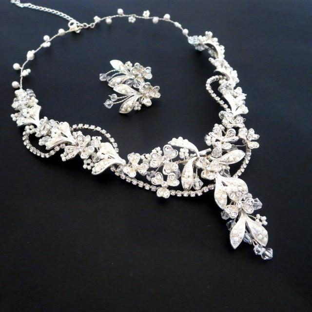 Beaded Bridal Necklace Pearl Bridal Earrings Bridal