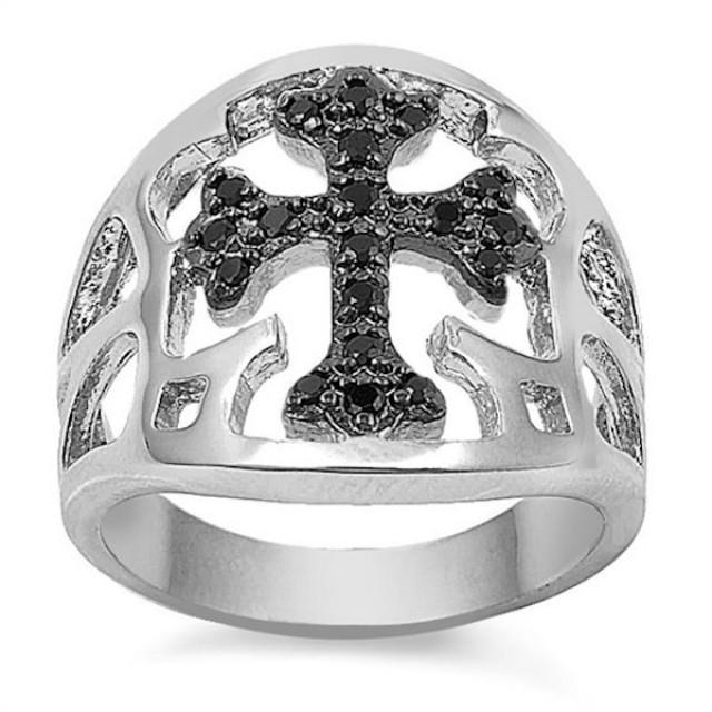 Men S Biker Cross Ring Solid 925 Sterling Silver Round Jet Black
