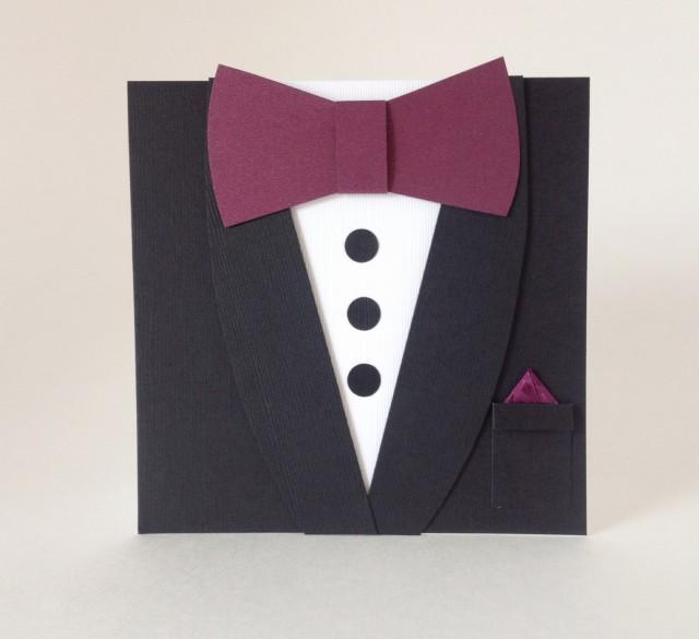 Black Tuxedo Bow Tie Invitation Groomsmen Wedding Card