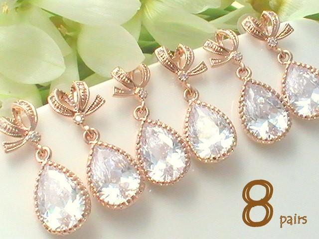 bridesmaid gift ideas 12 off set of 8 bridesmaid gift maid of honor gift for bridal shower gift for bridesmaids jewelry rose gold earring 2440312