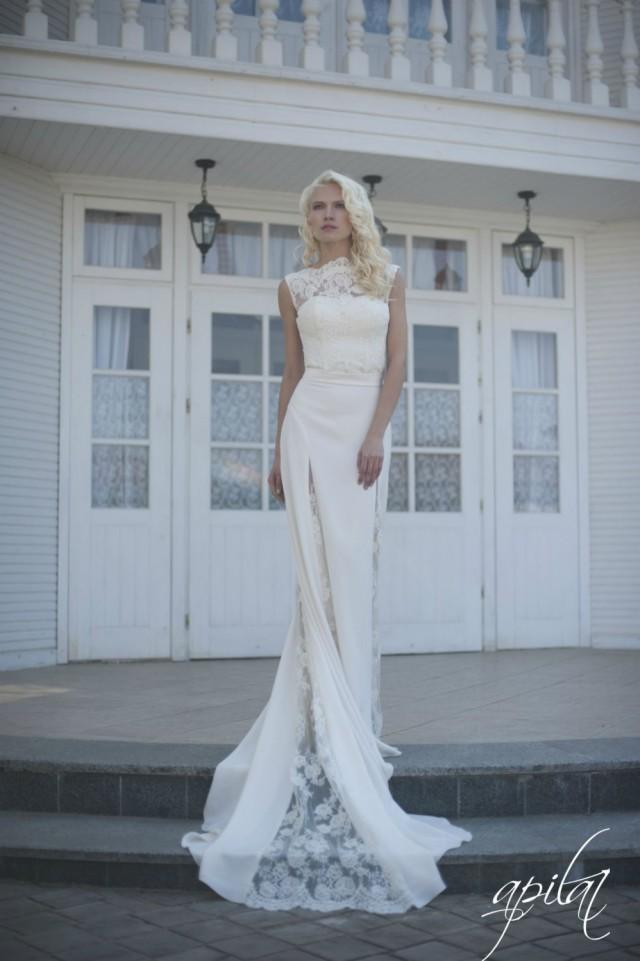Wedding Dress, Ivory Wedding Dress, Crepe And Lace Dress With Train ...