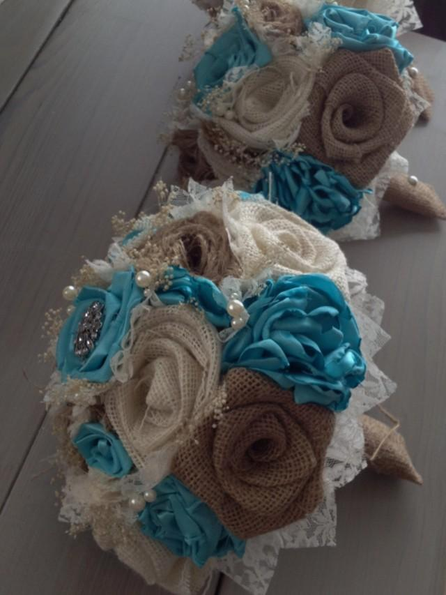 Handmade Bridal Bouquets With Natural And Ivory Burlap And