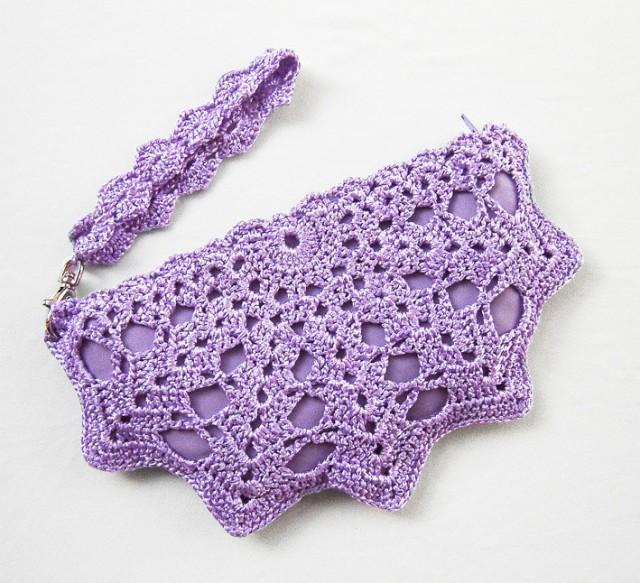 Small Purple Clutch Bag Lavender Purple Crochet Purse Lace