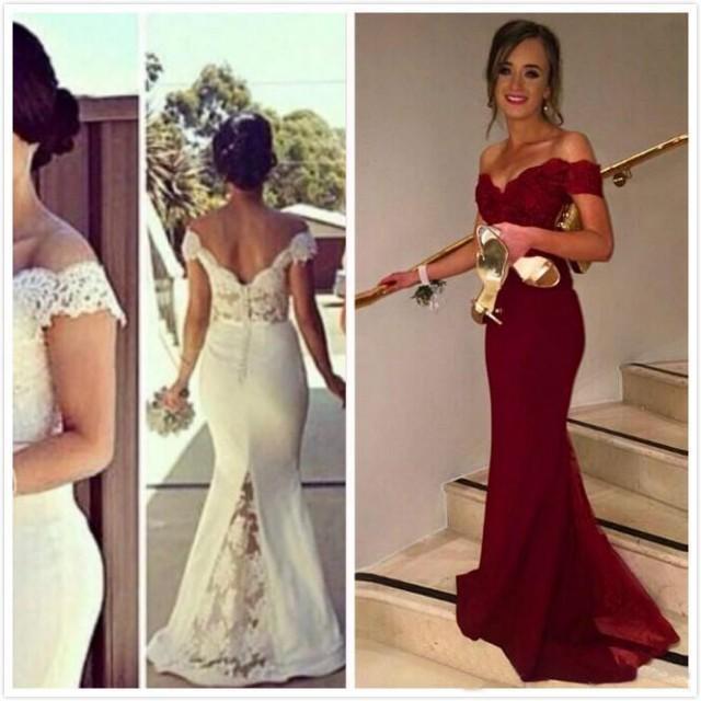 Wholesale 2016 New Bride Evening Dress Vintage Shoulder: Vintage Whie Bridesmaid Dresses Sleeves Long Brdal Plus