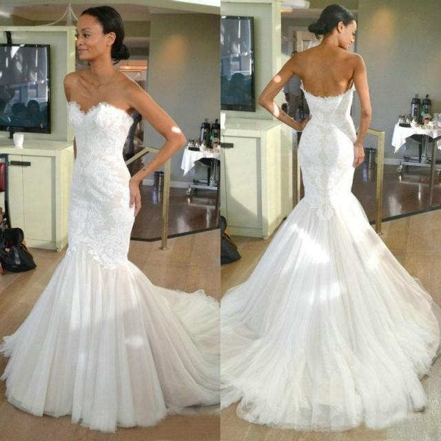 Fishtail Wedding Gowns: Lace Mermaid Wedding Dresses Sweetheart Lace Tulle Sweep