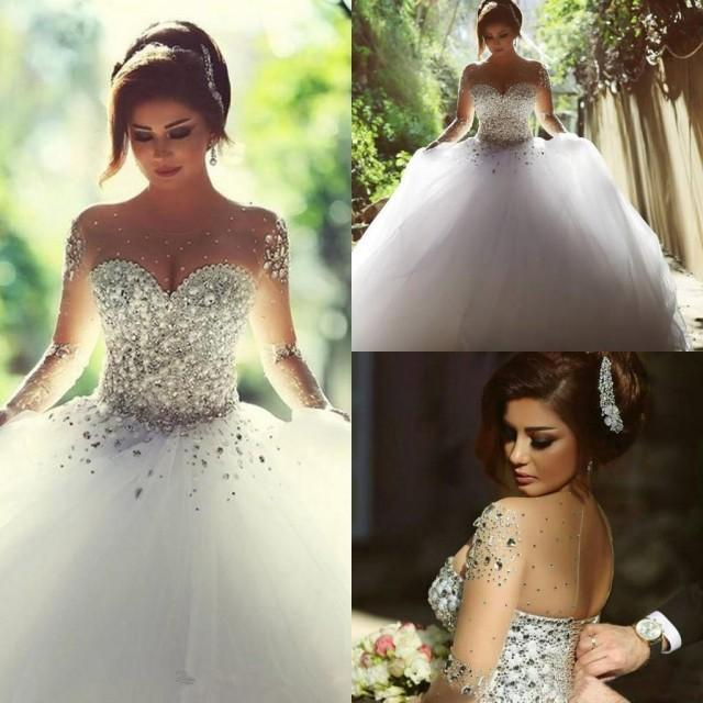 2016 Retro Long Sleeves Wedding Dresses Rhinestones Crystals Backless Ball  Gown Vintage Bridal Gowns Spring Plus Size A Line Said Mhamad Online With  ...