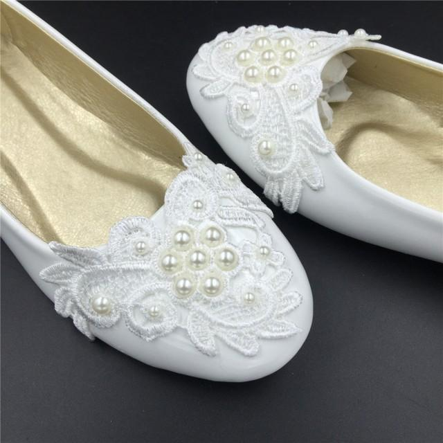 Bridal Shoes Usa: Ivory White Vintage Lace Wedding Shoes,Pearls Bridal