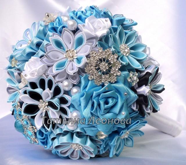 "Fabric Wedding Bouquet, Brooch Bouquet ""Breath"" Blue, Gray"