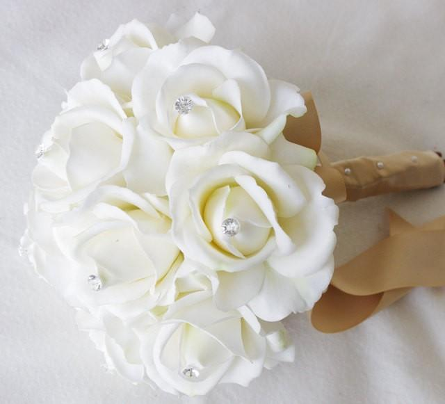 Silk Wedding Bouquet - Natural Touch Off White Ivory Roses Silk ...