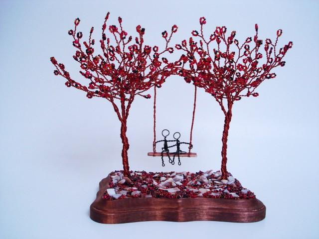 Double Wire Trees Sculpture Swing Couple Custom Order