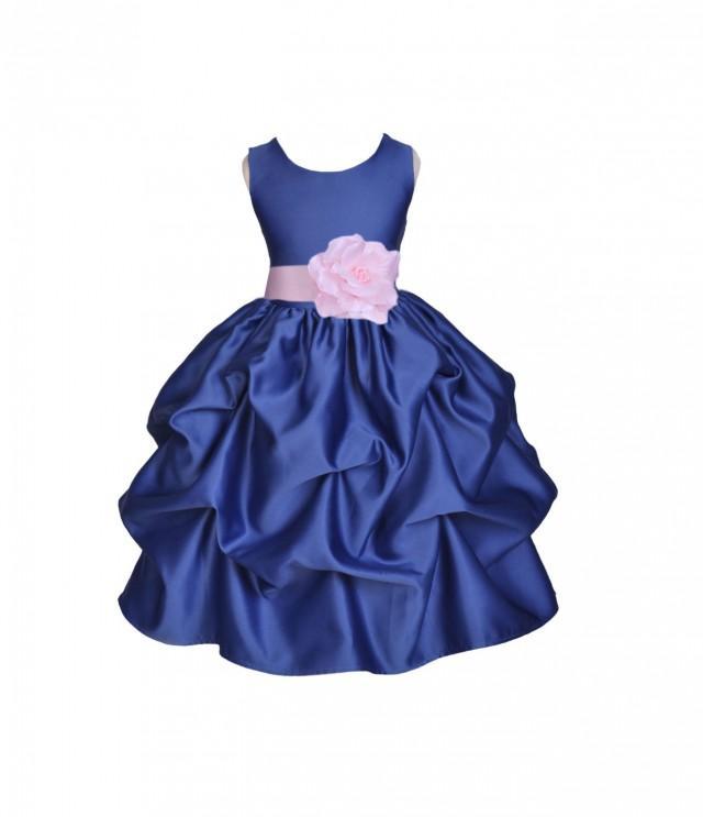 Navy Blue / Choice Of Color Sash Kids Flower Girl Dress