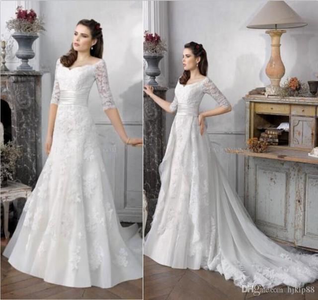Wedding Gown With Detachable Train: 2016 New Wedding Dresses Detachable Train Applique Lace