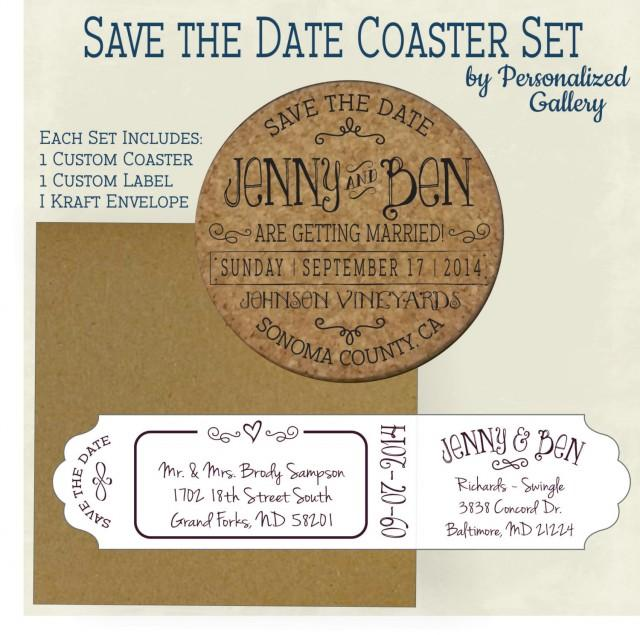 Date Invitation Cork Coasters