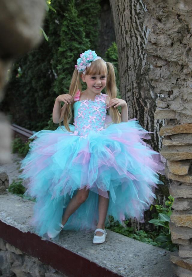 Pink Blue Flower Girl Dress Birthday Holiday Pink Aqua
