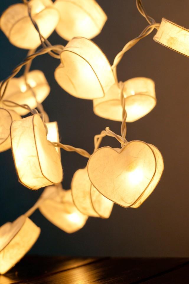 20 Battery Powered Led Romantic White Heart Paper Lantern String Lights For Party