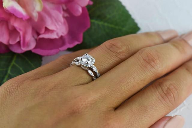 3 4 Ctw Halo Wedding Set Vintage Style Bridal Rings Man Made