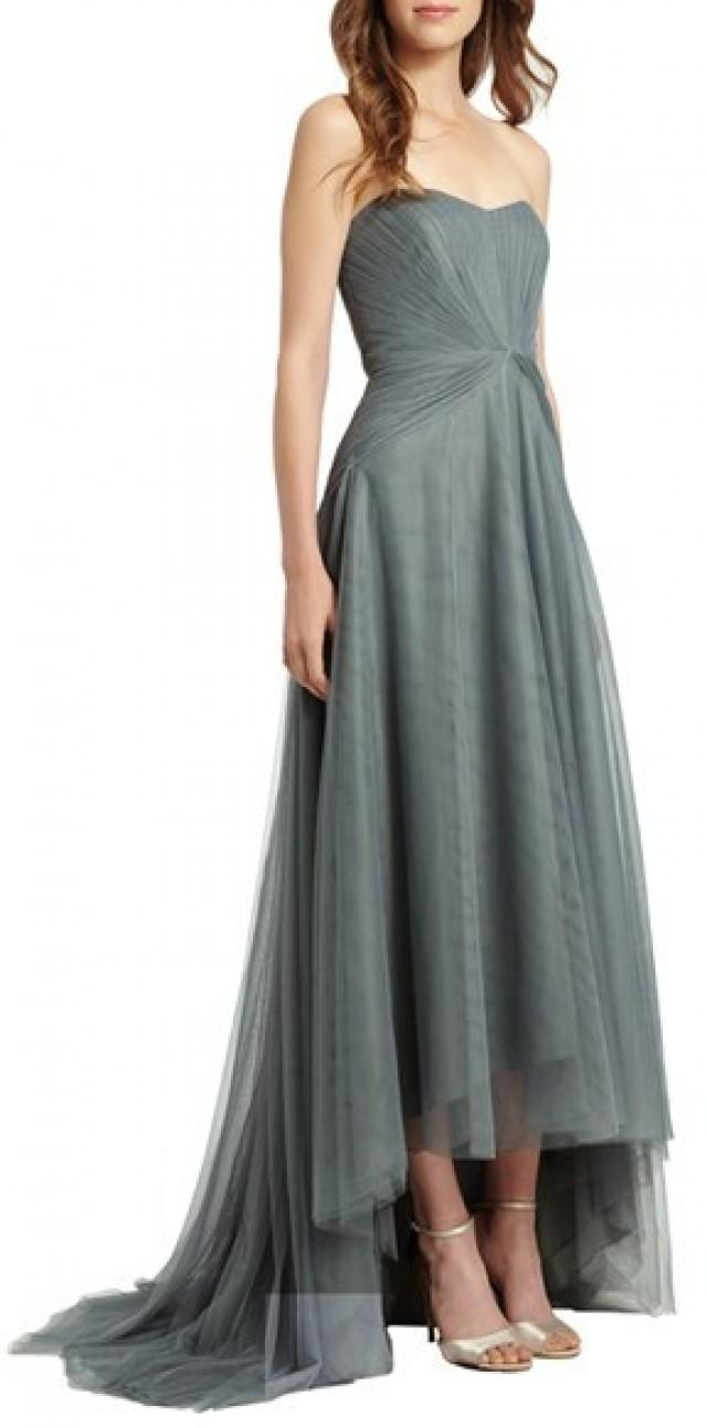 Monique Lhuillier Bridesmaids Pleat Tulle Strapless High/Low Gown ...