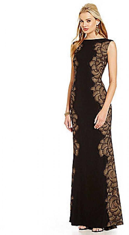 Tadashi Shoji Illusion Inset-Lace Sides Crepe Gown #2442378 - Weddbook