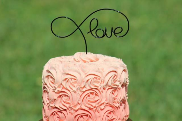 Black wire love wedding cake toppers decoration beach for How to ship a wedding dress usps