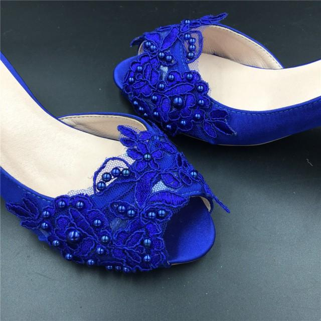 Full Sizes Royalblue Peep Toe Ladies