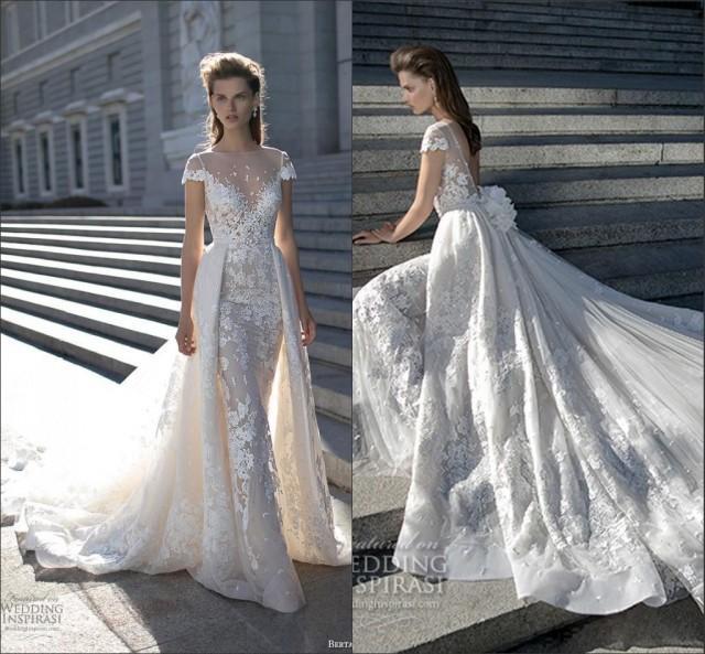 Berta Fall 2016 Romantic Vintage Lace Wedding Dresses Sheer Bateau Appliques Detachable Court