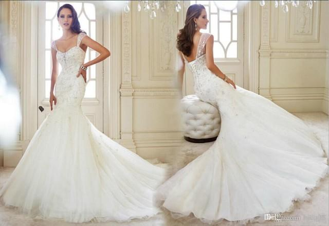 Ivory Ball Gown Wedding Dress: 2014 New Arrival Sexy Mermaid Wedding Dresses Applique