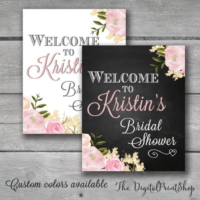 welcome sign watercolor bridal shower rustic chic