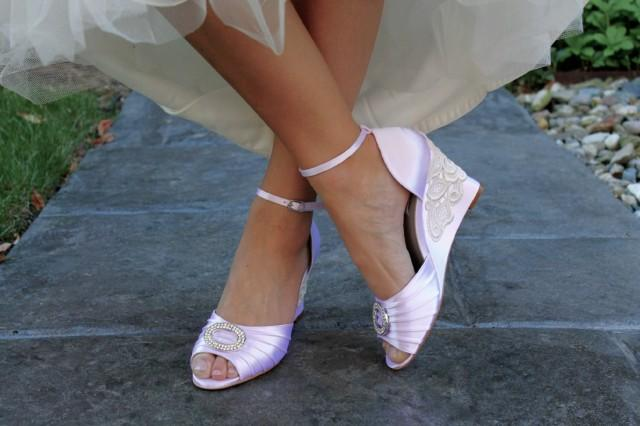 Wedge Heel Shoes For Wedding: Wedding Shoes Wedge Sandals Peep Toe High Heels Bridal