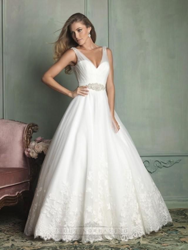 Sheer Straps V Neck And Back Ball Gown Wedding Dress 2443365 Weddbook