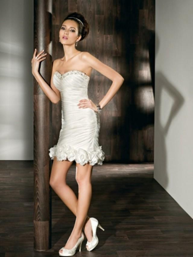 Satin Fit And Flare Long To Short Wedding Dress With Beaded