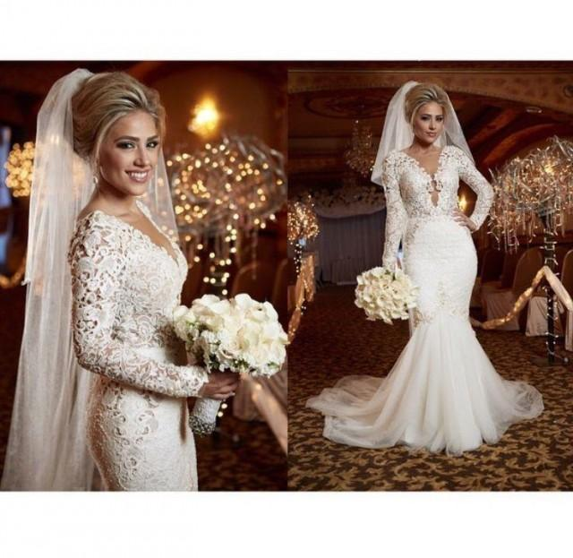 Long Sleeve V Neck Wedding Gown: 2015 Spring Berta Sexy Lace Wedding Dress Bridal Gowns V
