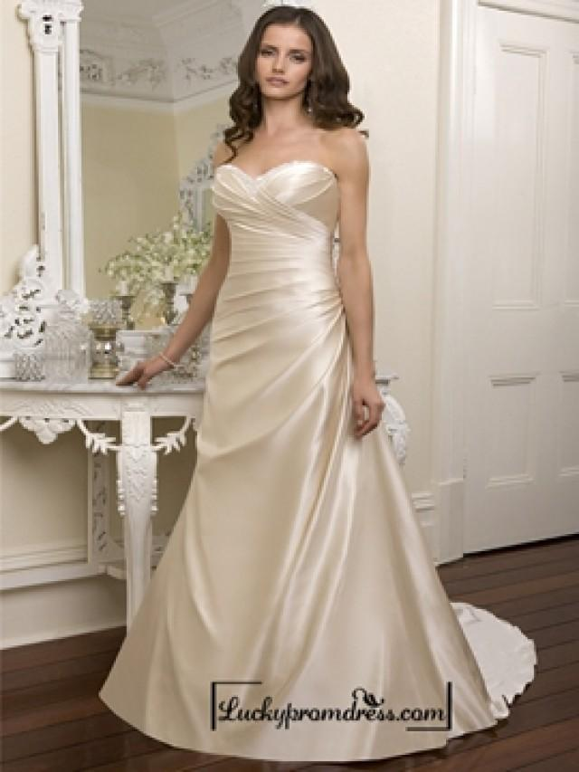 Elegant Beaded Sweetheart Cross Bodice Wedding Dresses Featured