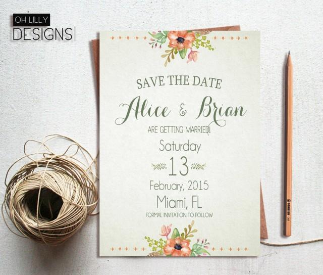 Save The Date Wedding Invitation Ornaments Save The Date: Rustic Save The Date Printable, Save The Date Floral, Save