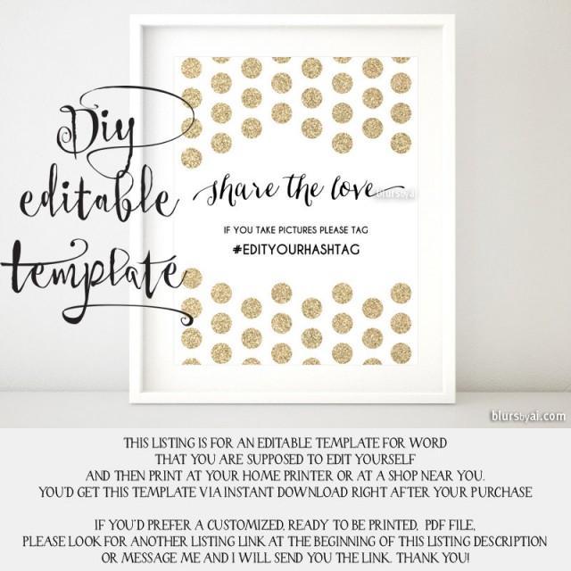 Printable Hashtag Sign TEMPLATE, Diy Wedding Hashtag Sign, Share The ...